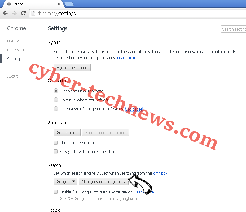 Incognito Search Browser Hijacker Chrome extensions disable