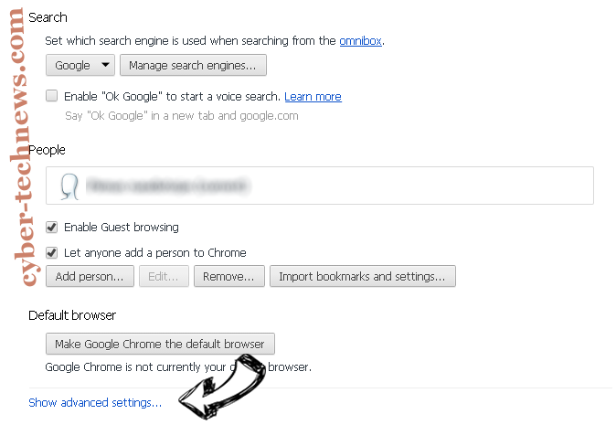 Search.searchbfr.com Chrome settings more