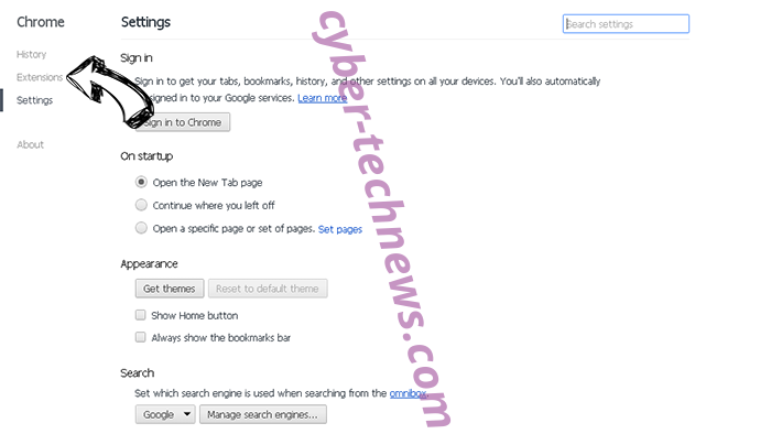 Enewssubspush.info Chrome settings