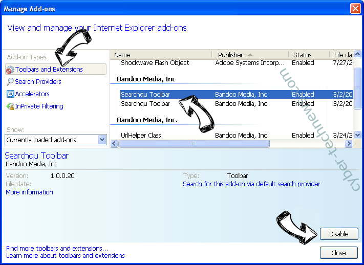Search.memeinc.net Redirect (Mac) IE toolbars and extensions