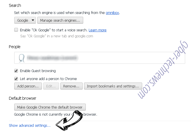 Search.hmyclassifiedslist.net Chrome settings more