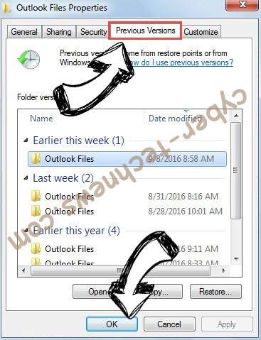 Windows previous version restore