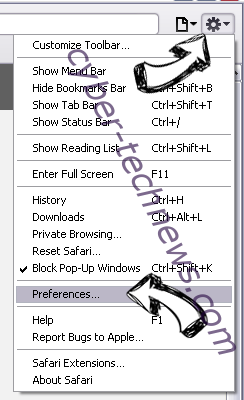 HPDriver.exe Safari menu