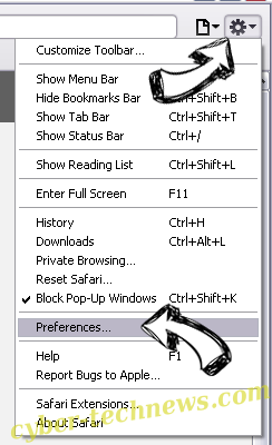 Browsers.top Safari menu