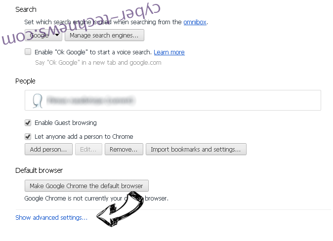 Search.mediatabtv.online Chrome settings more