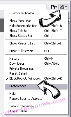 Kittens New Tab Browser Hijacker Safari menu