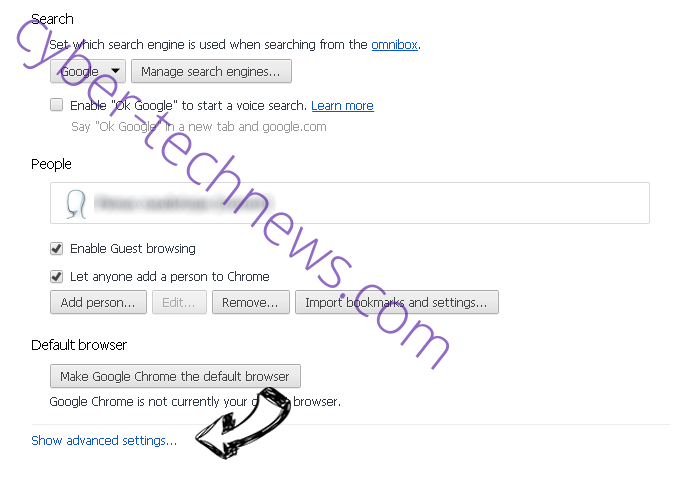 Linkonclick.com Chrome settings more