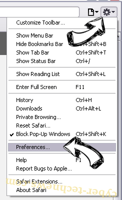 Update Checker Adware Safari menu