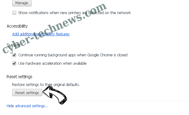 Pony Virus Chrome advanced menu