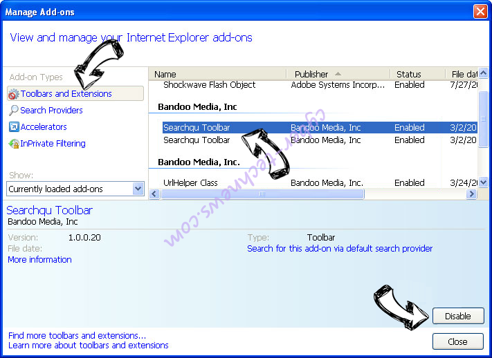 Search.searchcoun2.com IE toolbars and extensions