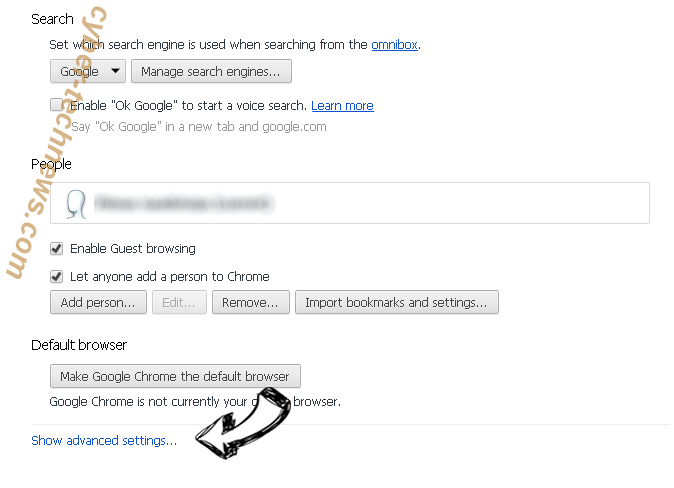 Search Manager Chrome settings more