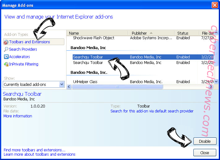 Pop.yea2202.vip IE toolbars and extensions