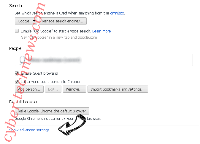 Search.searchvzc.com Chrome settings more