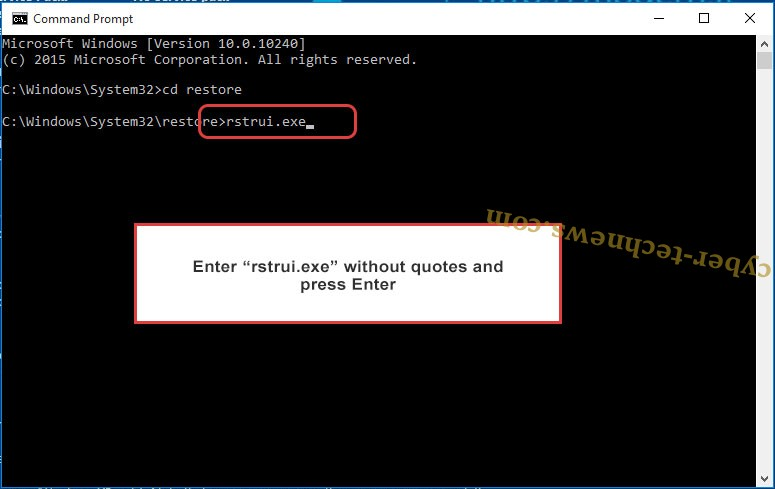 Delete Cyberresearcher Ransomware - command prompt restore execute