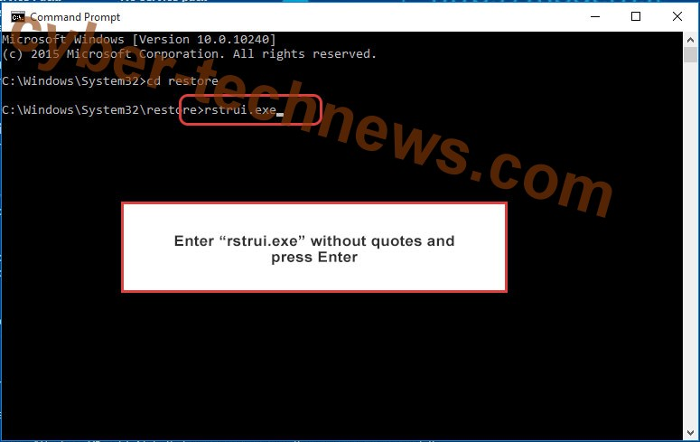 Delete SystemCrypter ransomware - command prompt restore execute