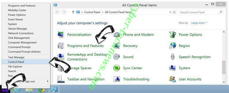 Delete DIY Projects redirect from Windows 8