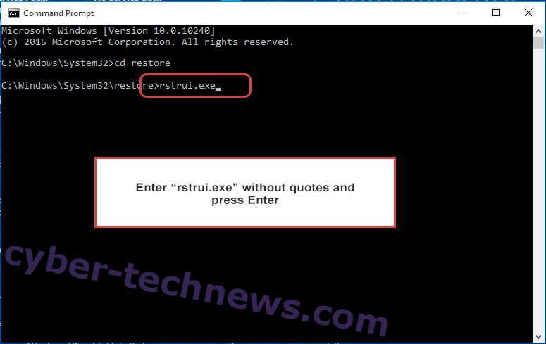 Delete Webmoka Cleaner Malware - command prompt restore execute