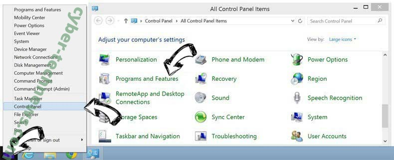 Delete Goweb App from Windows 8