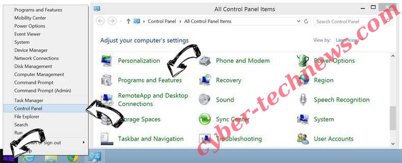Delete Homepros.zone from Windows 8