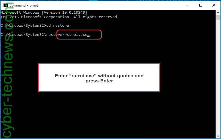 Delete .Coot file extension ransomware - command prompt restore execute