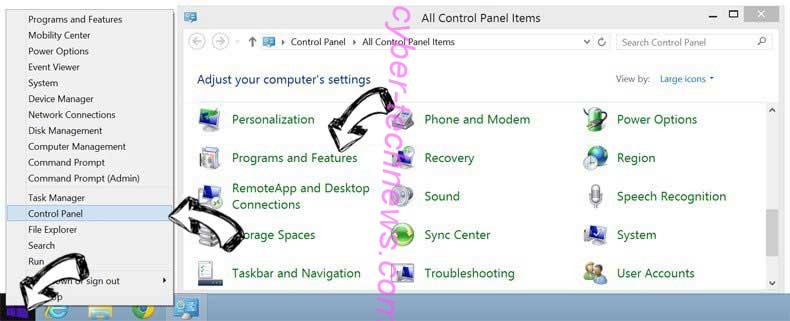 Delete Hemmieconverset.info from Windows 8