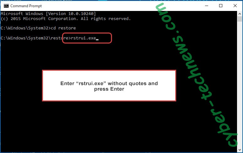 Delete .Payday File Virus - command prompt restore execute