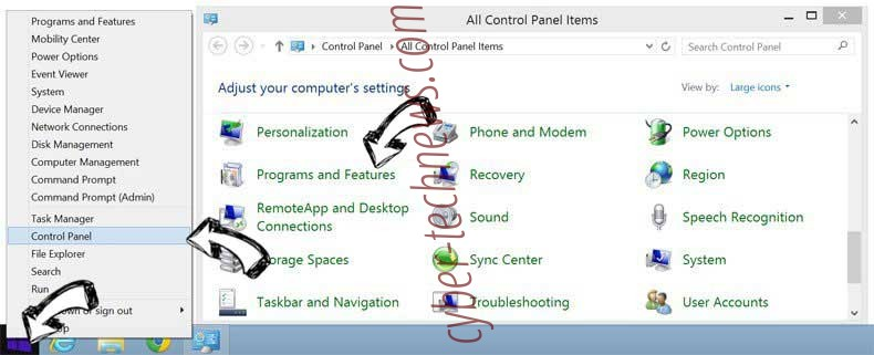 Delete MusicBox Search Extension from Windows 8