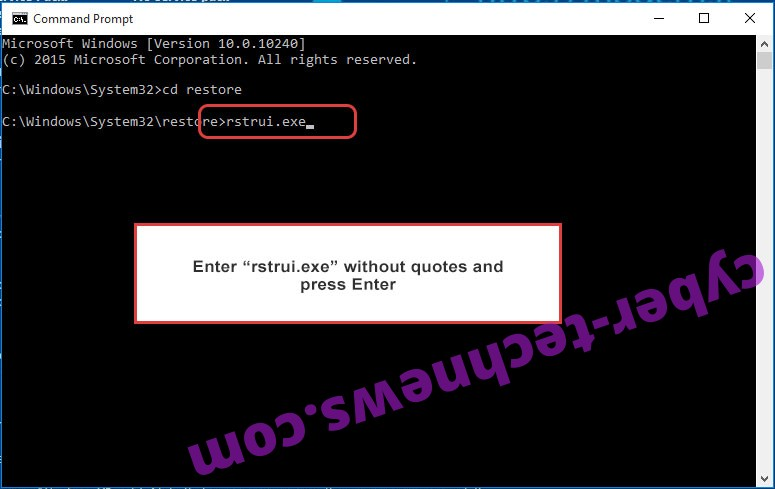 Delete Thanatos ransomware - command prompt restore execute
