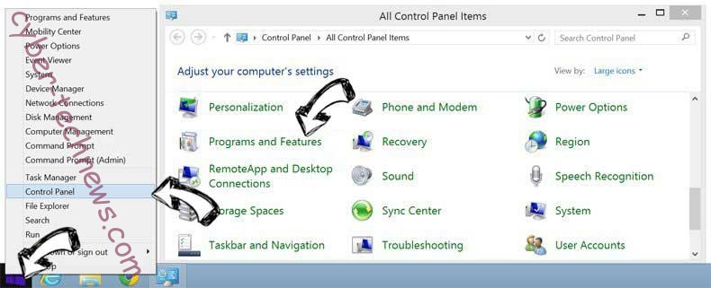 Delete Search.centralhubradio.com from Windows 8