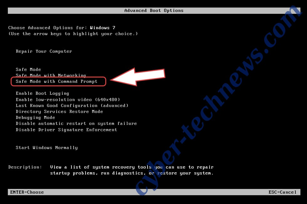 Remove Scarab-XTBL Ransomware - boot options