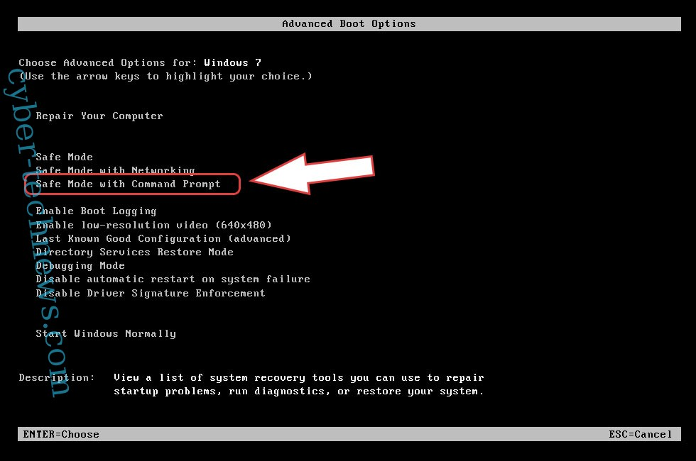 Remove Adair ransomware - boot options