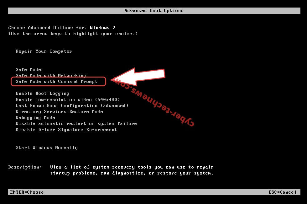 Remove Rezuc file virus Ransomware - boot options