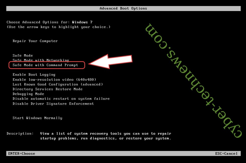Remove DODOC ransomware - boot options
