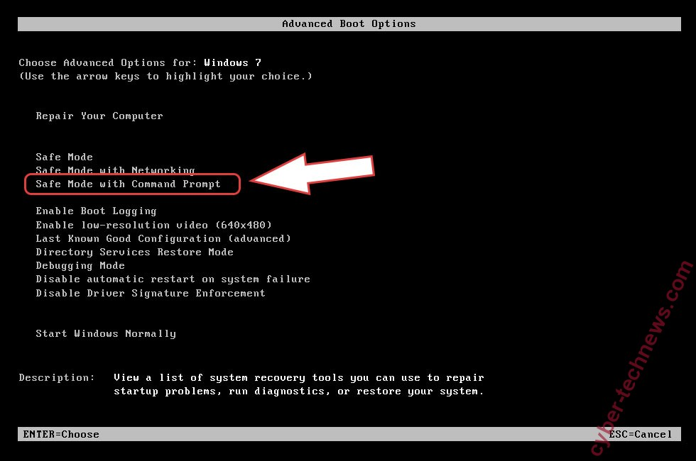 Remove MASOK ransomware - boot options