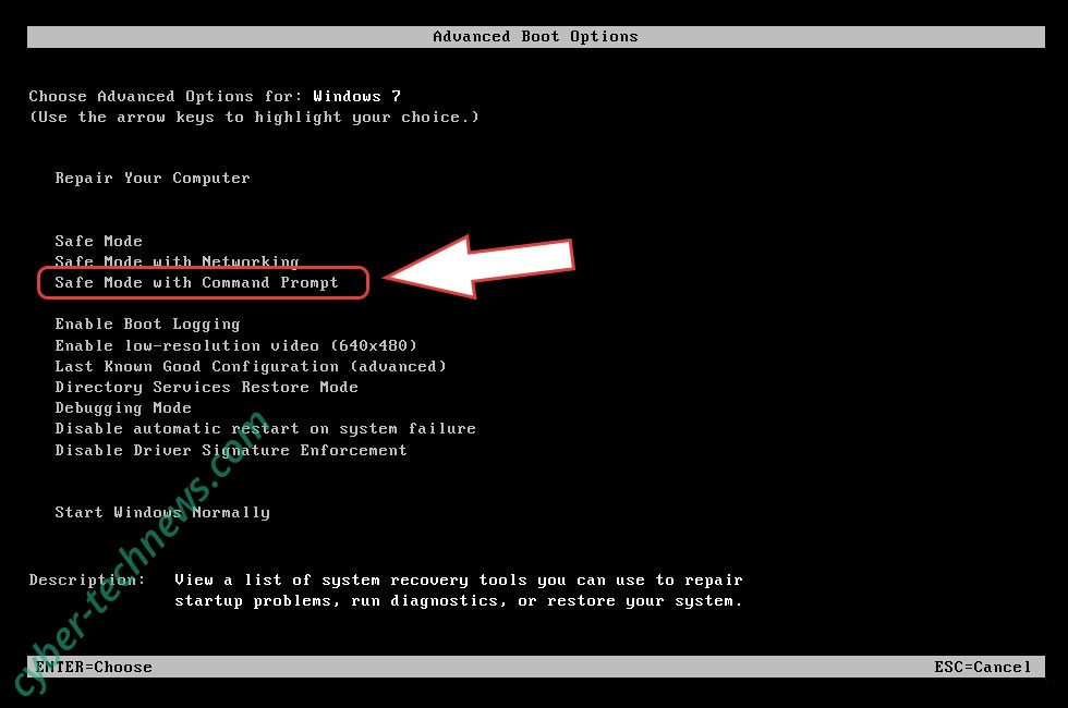 Remove Coharos ransomware - boot options