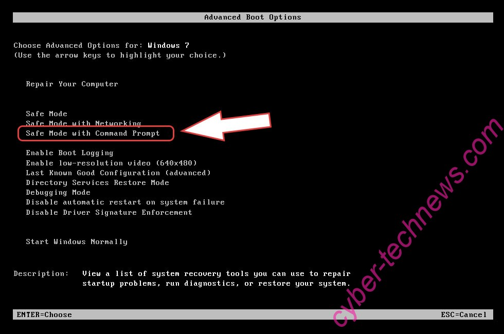 Remove .hese files virus - boot options