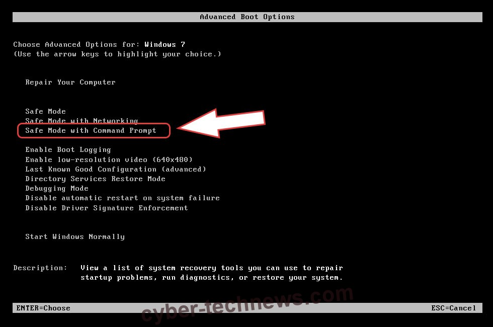 Remove DecService Ransomware - boot options