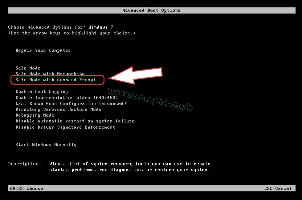 Remove Tornado ransomware - boot options