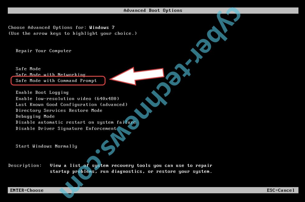 Remove AWT ransomware - boot options