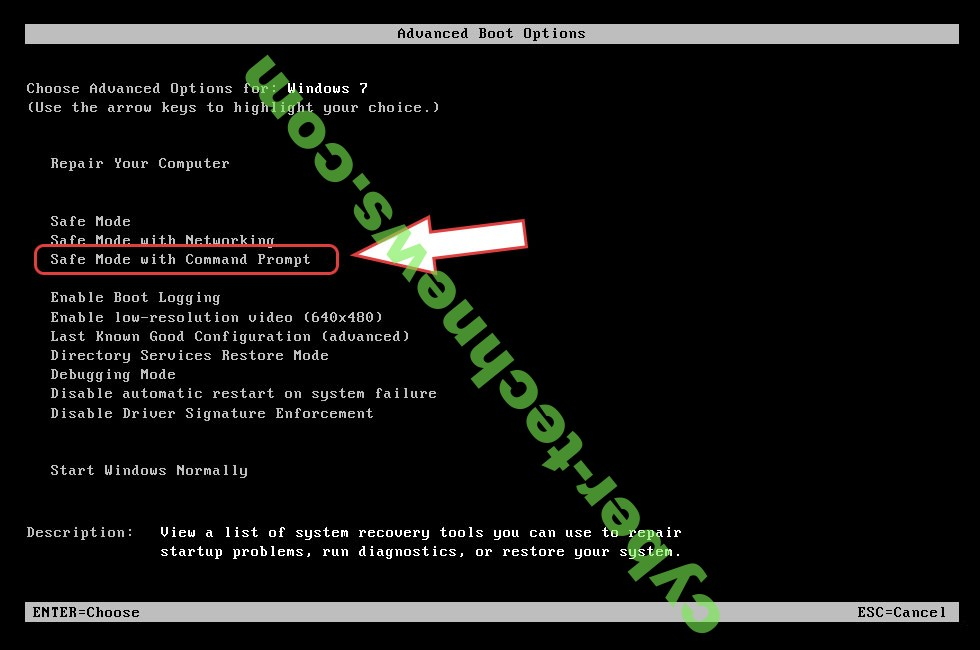 Remove .com Ransomware - boot options
