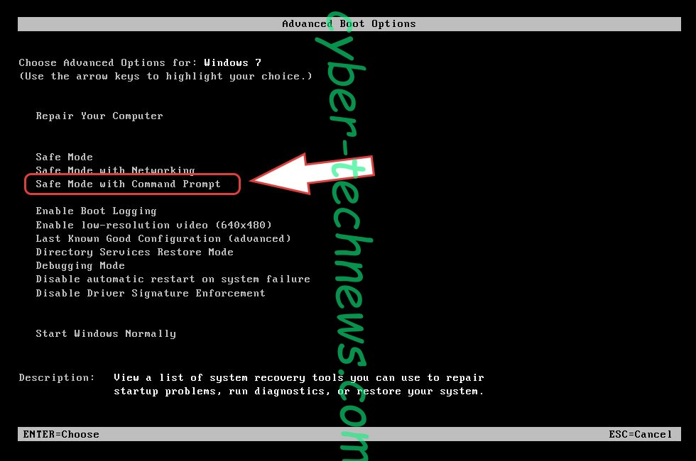 Remove MOLE66 CryptoMix ransomware - boot options