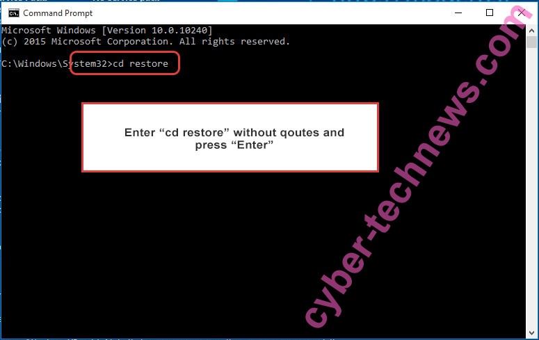 Uninstall Horros ransomware - command prompt restore