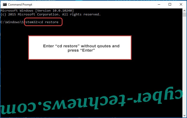 Uninstall .Sivo file ransomware - command prompt restore