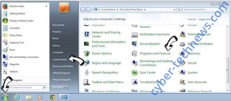 Uninstall DIY Projects redirect from Windows 7