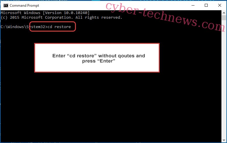 Uninstall .PRT ransomware - command prompt restore