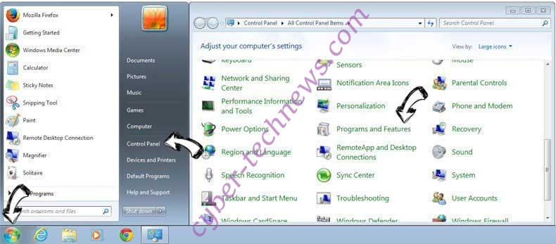 Uninstall Simplysafesearch.com from Windows 7