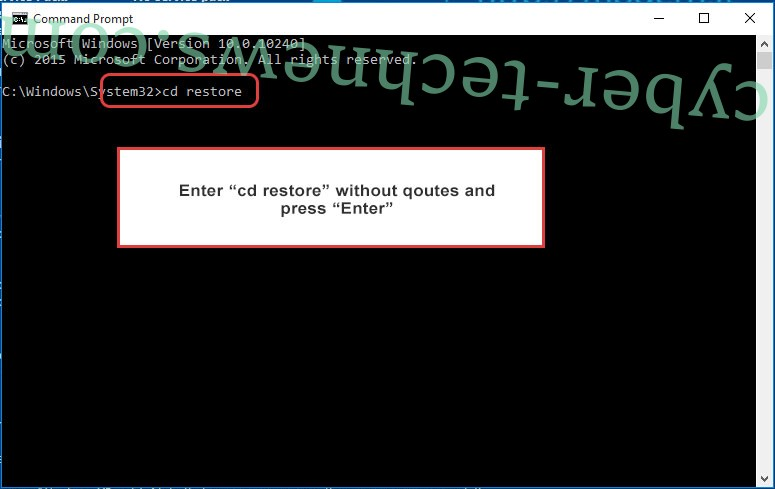 Uninstall Todar Ransomware - command prompt restore