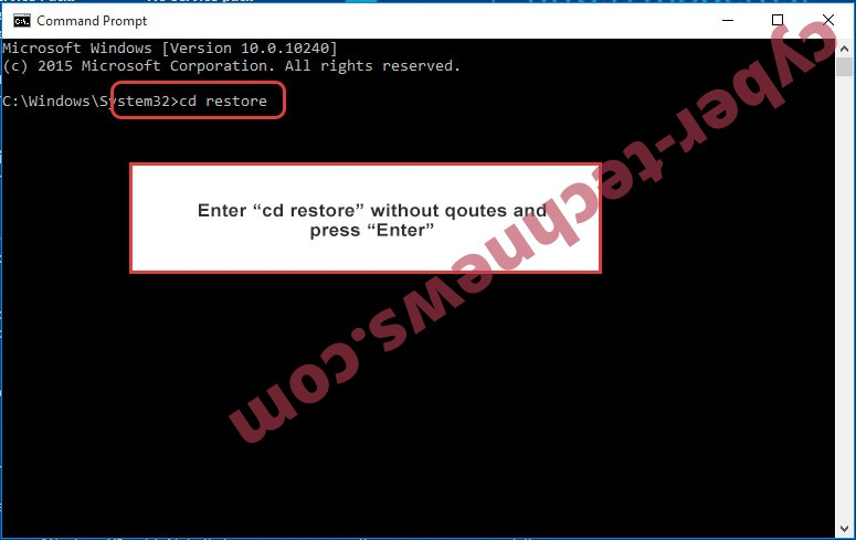 Uninstall MASOK ransomware - command prompt restore