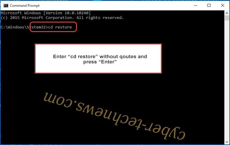 Uninstall Coharos ransomware - command prompt restore
