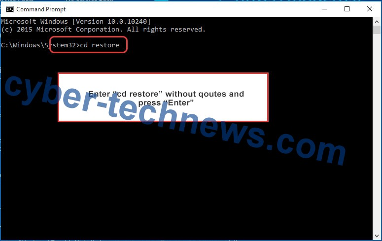 Uninstall Yoba ransomware - command prompt restore